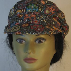Fisherman Cap in Sugar Skulls Flowers in Yellow Orange Green Red - front