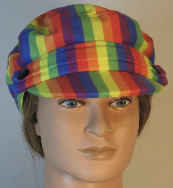 Fisherman Cap in Rainbow Pride Stripe Flannel - front