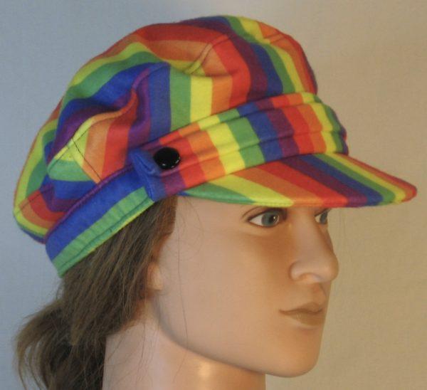 Fisherman Cap in Rainbow Pride Stripe Flannel - right