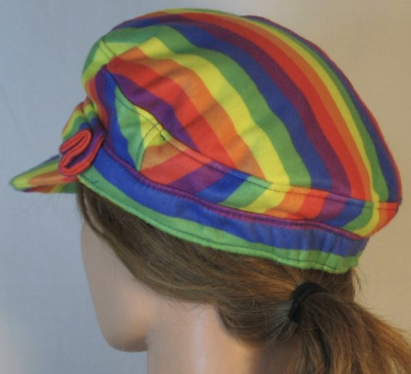 Fisherman Cap in Rainbow Pride Stripe Flannel - back left