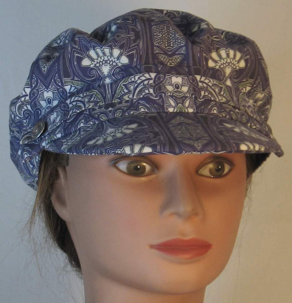 Fisherman Cap in Midnight Tapestry with White Fan Shapes - front