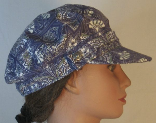 Fisherman Cap in Midnight Tapestry with White Fan Shapes - right