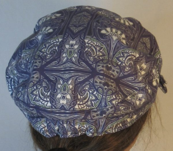 Fisherman Cap in Midnight Tapestry with White Fan Shapes - back
