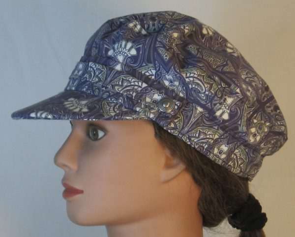 Fisherman Cap in Midnight Tapestry with White Fan Shapes - left