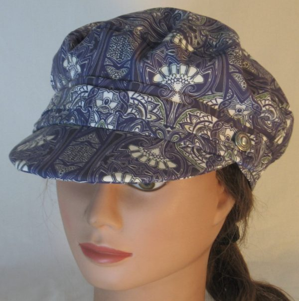Fisherman Cap in Midnight Tapestry with White Fan Shapes - top