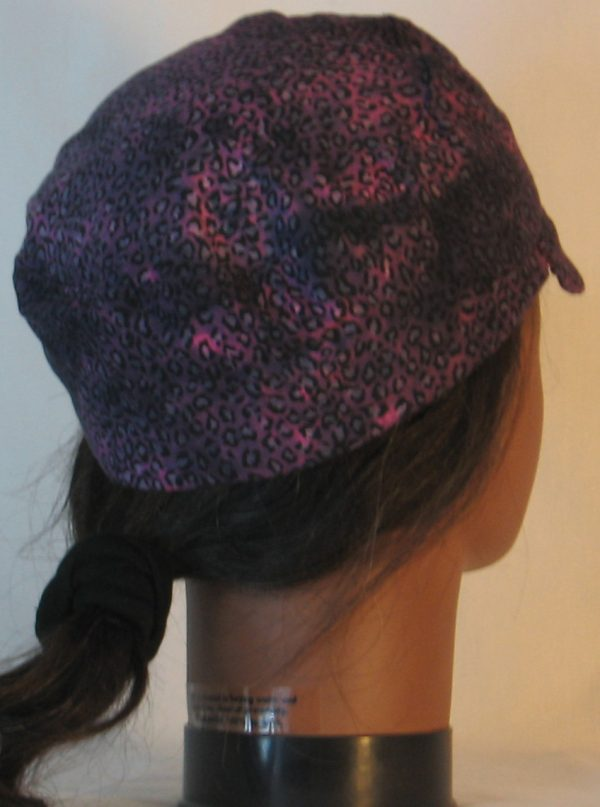 Welding Cap in Pink with Black Leopard Splotchy Black Dye - r-back
