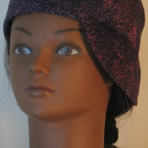 Welding Cap in Pink with Black Leopard Splotchy Black Dye - front