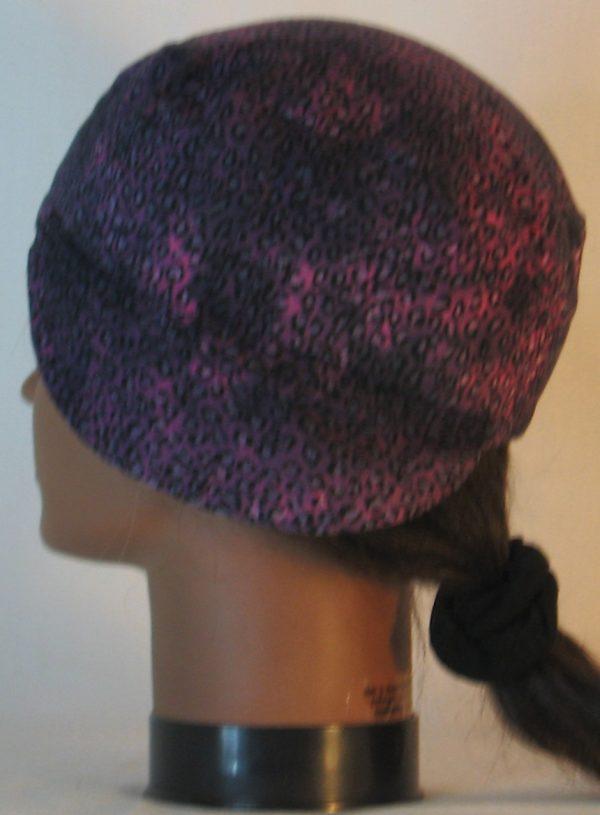 Welding Cap in Pink with Black Leopard Splotchy Black Dye - left