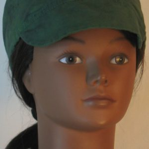 Welding Cap in Green with Black Splotchy Black Dye - front
