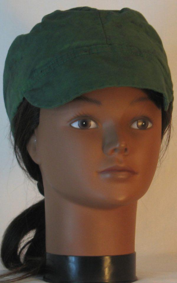 Welding Cap in Green with Black Splotchy Black Dye - front