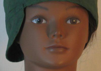 Welding Cap in Green with Black Splotchy Black Dye - front alt