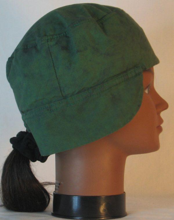 Welding Cap in Green with Black Splotchy Black Dye - right