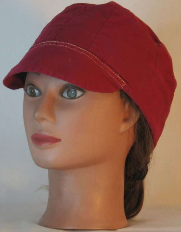 Welding Cap in Deep Raspberry Immersion Dyed - front left