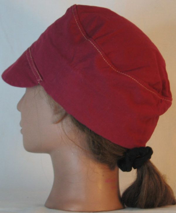 Welding Cap in Deep Raspberry Immersion Dyed - back left