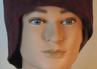 Welding Cap in Burgundy With Black Splotchy Dye - front