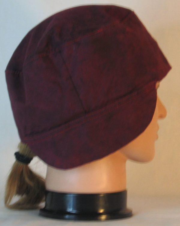 Welding Cap in Burgundy With Black Splotchy Dye - right
