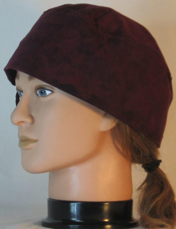 Welding Cap in Burgundy With Black Splotchy Dye - left