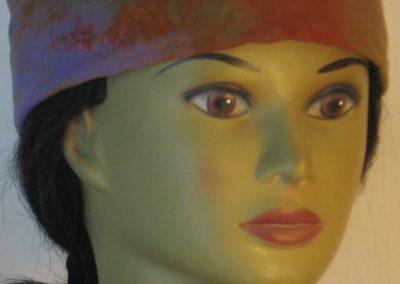 Skull Cap in Purple with Green Orange Yellow Blue Splotchy Dye - front