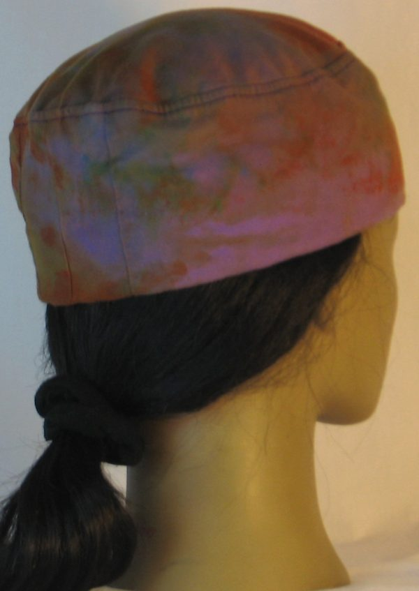 Skull Cap in Purple with Green Orange Yellow Blue Splotchy Dye - back right