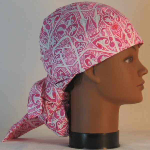 Hair Bag Do Rag in Pink Hearts Akimbo - right