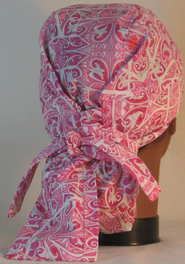 Hair Bag Do Rag in Pink Hearts Akimbo - back