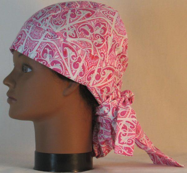 Hair Bag Do Rag in Pink Hearts Akimbo - left