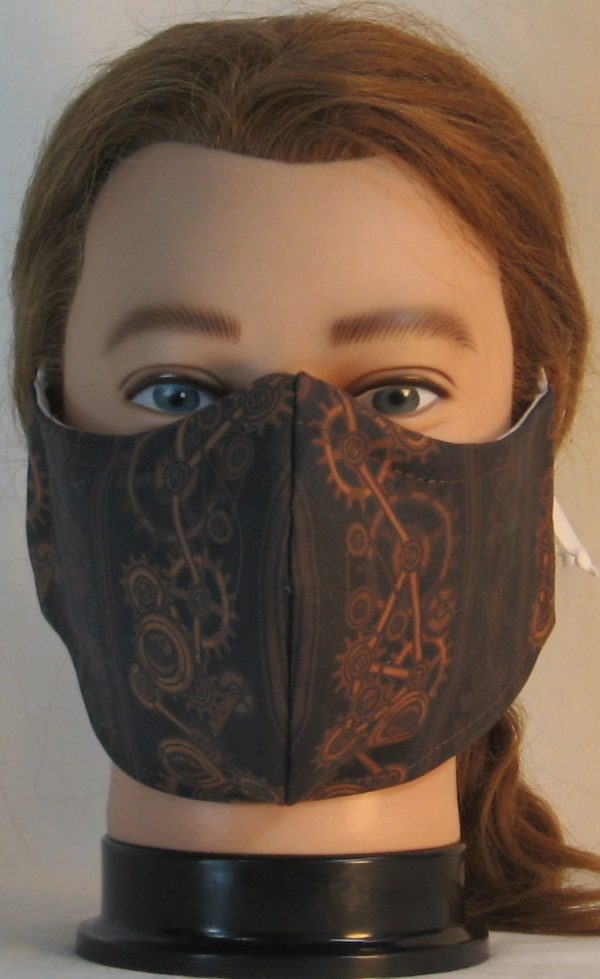 Face Mask in Steampunk Damask Stripes of Gears Floral in Brown - front