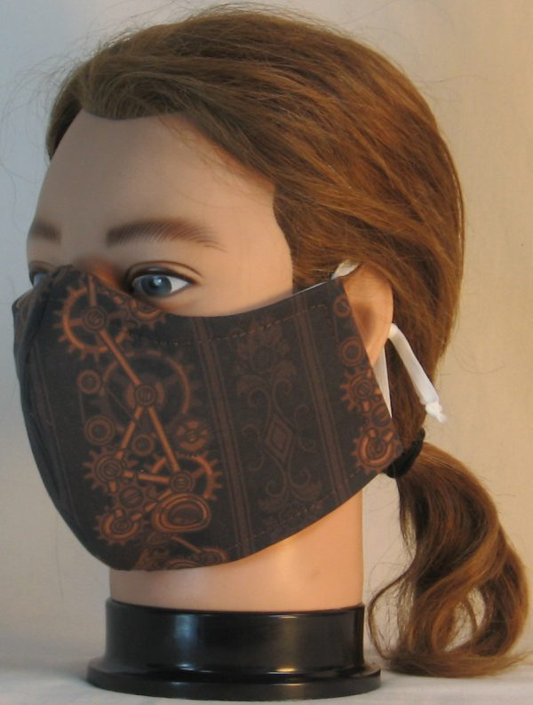 Face Mask in Steampunk Damask Stripes of Gears Floral in Brown - left