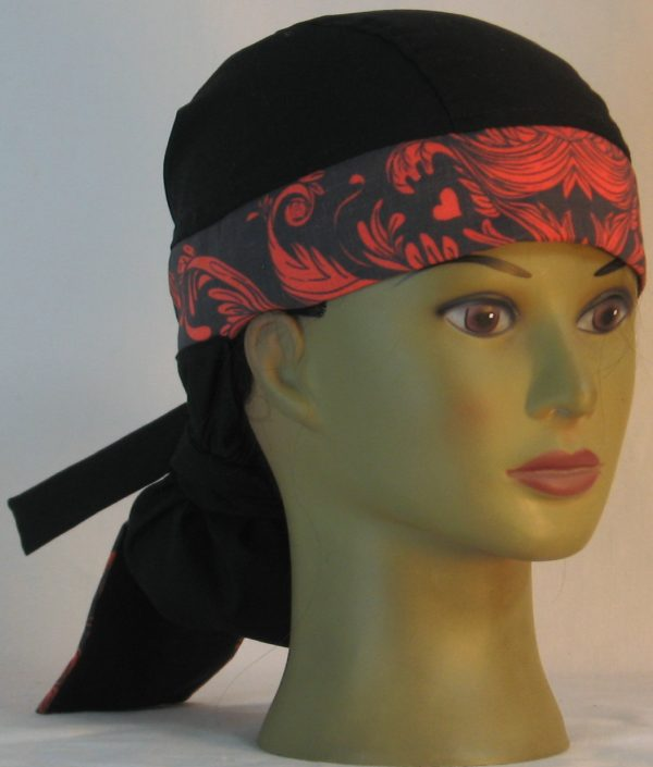 Hair Bag Do Rag in Red Skull Tail Scroll Leaves on Black Damask Band Black Crown - front right