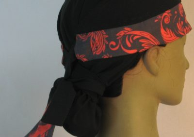 Hair Bag Do Rag in Red Skull Tail Scroll Leaves on Black Damask Band Black Crown - right