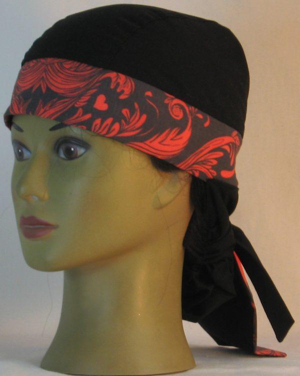 Hair Bag Do Rag in Red Skull Tail Scroll Leaves on Black Damask Band Black Crown - left