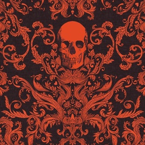 Dread Damask Lava by willowlanetextiles