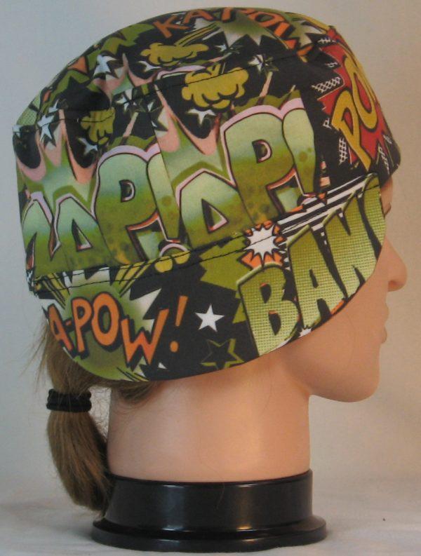 Welding Cap in Bang Pow in Green Orange Black - back right