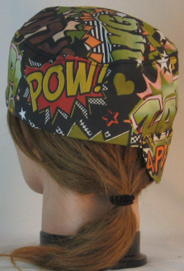 Welding Cap in Bang Pow in Green Orange Black - back alt