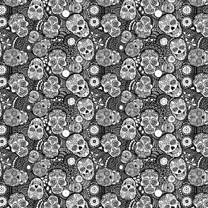 Mexican Sugar Skulls Black and White Extra Small by lusykoror