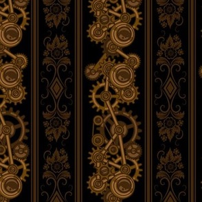 Steampunk Damask Stripes on black by fabric_rocks