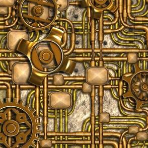 Steampunk Panel Brass Gears & Pipes by bonnie_phantasm
