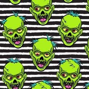 Zombies - Green on Black Stripes by littlearrowdesign