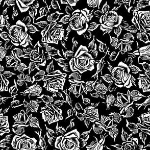 White Roses on Black by b0rwear