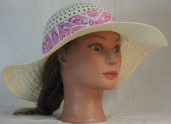 Floppy Hat Band in Pink Hearts Akimbo Ties Gray - front right