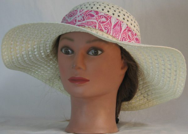 Floppy Hat Band in Pink Hearts Akimbo Ties Gray - front