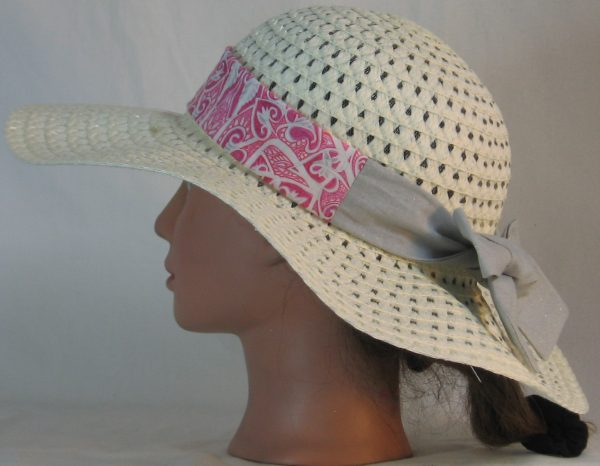 Floppy Hat Band in Pink Hearts Akimbo Ties Gray - left