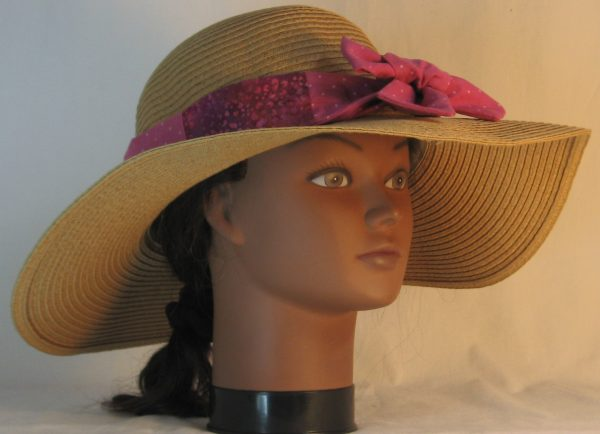 Floppy Hat Band in Raspberry Dotted Swiss Immersion Dyed Patchwork Pink Purple Flower - front right