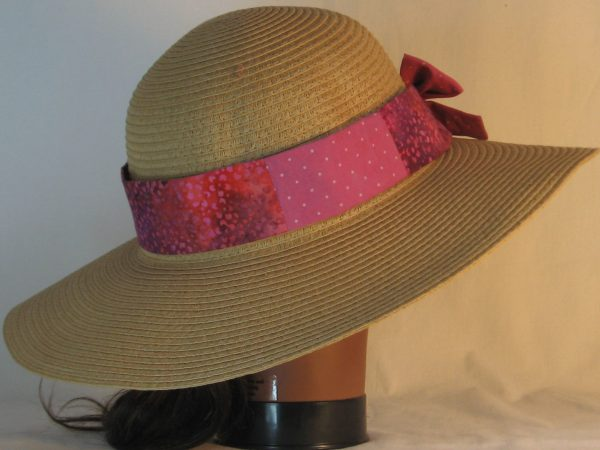 Floppy Hat Band in Raspberry Dotted Swiss Immersion Dyed Patchwork Pink Purple Flower - back right