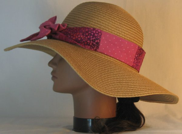 Floppy Hat Band in Raspberry Dotted Swiss Immersion Dyed Patchwork Pink Purple Flower - left